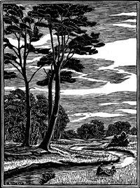 glasses shopping online Gwen Raverat wood engraving The River Bourne  London General Omnibus Co advert  151 x 113mm  block cut 1929