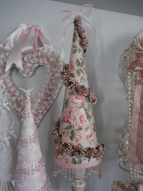 Pretty in Pink Roses Decorative Paper Mache Christmas Tree Cone