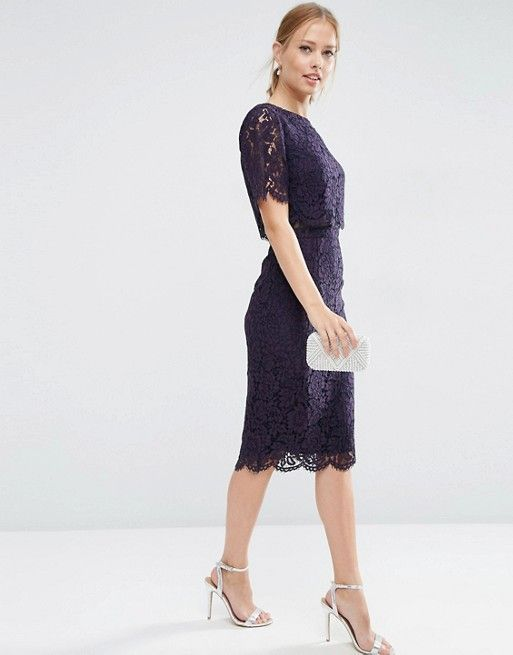 ASOS Lace Crop Top Midi Pencil Dress in NAVY (with silver accessories) US. ASOS.COM --  shopping style floral ae09e3562