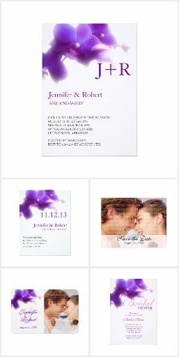 Purple Orchid Wedding Collection Floral purple wedding stationery, gifts and keepsakes. Paper type, text color and font, can be easily changed.