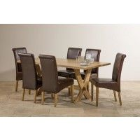 Crossley Natural Solid Oak Dining Set - 6ft Table with 6 Scroll Back Brown Leather Chairs
