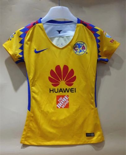fb4d0e50813 2018-19 Club America 2nd Away Yellow Thailand Female Soccer Jersey ...