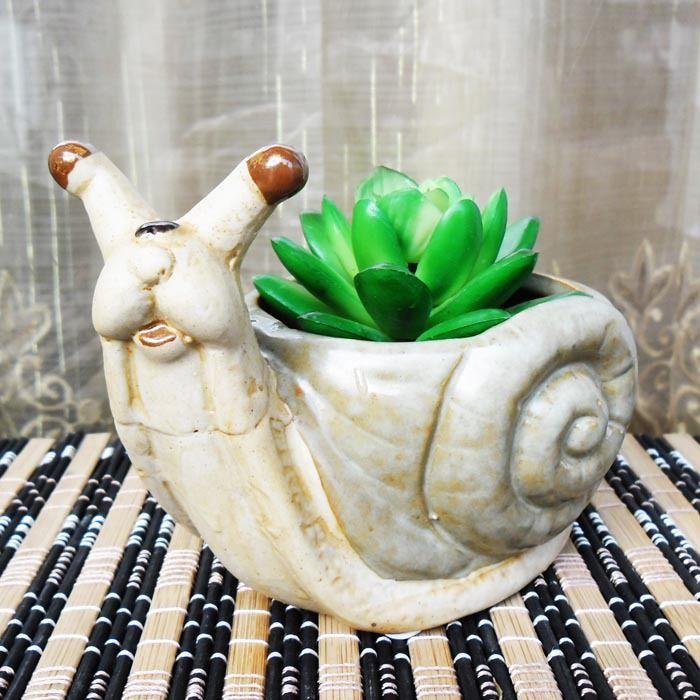 AIBEI-ZAKKA Retro Ceramic Snail Flower Pot decorative Small Nursery Pots Garden Succulents Flower Pots Planters