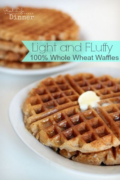 Homemade Whole Wheat Waffles | So good you won't believe they are 100% whole wheat! | reallifedinner.com