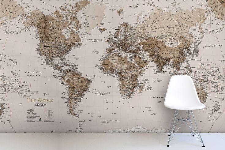 Earth Tone World Map Mural Wallpaper