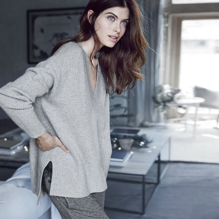 Cashmere Chunky V-Neck Sweater | The White Company US. One of our hero pieces from this season, our new V-neck sweater is made with an unbelievably thick and chunky cashmere knit. Shopping from the UK? -> http://www.thewhitecompany.com/Cashmere-Chunky-V-Neck-Jumper/p/CCCVN?swatch=Silver+Grey+Marl