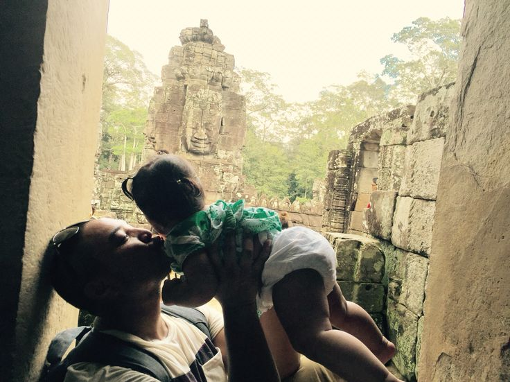 Daddy and Lennox at a temple in Cambodia.