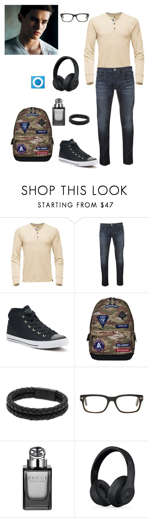 """corey"" by shyanne-andrade ❤ liked on Polyvore featuring Armani Jeans, Converse, Superdry, Vitaly, Tom Ford, Gucci, Beats by Dr. Dre, men's fashion and menswear"
