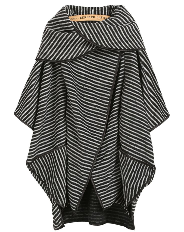 Black Short Sleeve Striped Loose Coat: