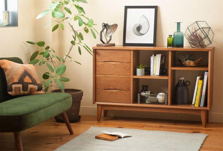 SIGNE(シグネ) ワイドシェルフ ブラウン | ≪unico≫オンラインショップ:家具/インテリア/ソファ/ラグ等の販売。