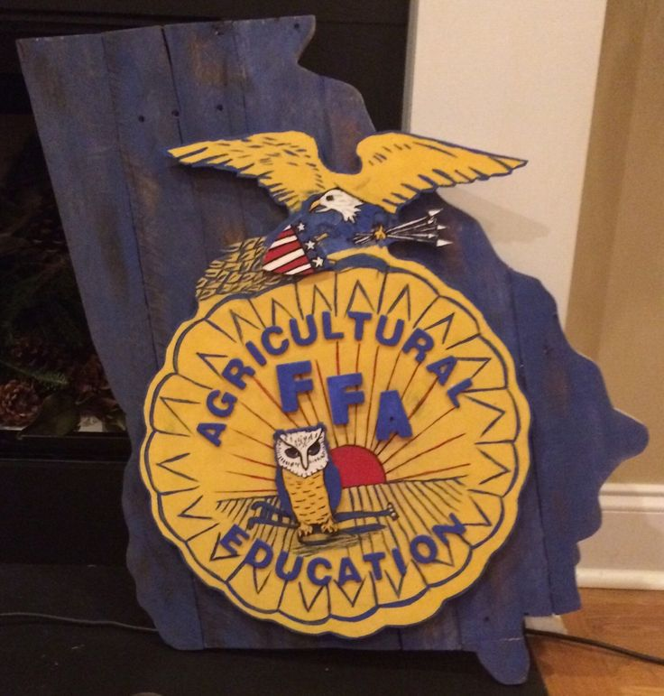 A personal favorite from my Etsy shop https://www.etsy.com/listing/260704428/hand-painted-ffa-emblem-on-state-of