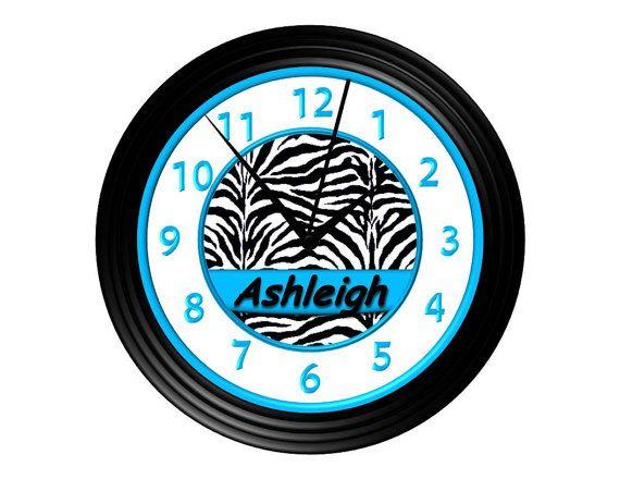 Turquoise /Black & White Zebra Print Wall Clock - Personalized - Teal/Aqua Name pic too!