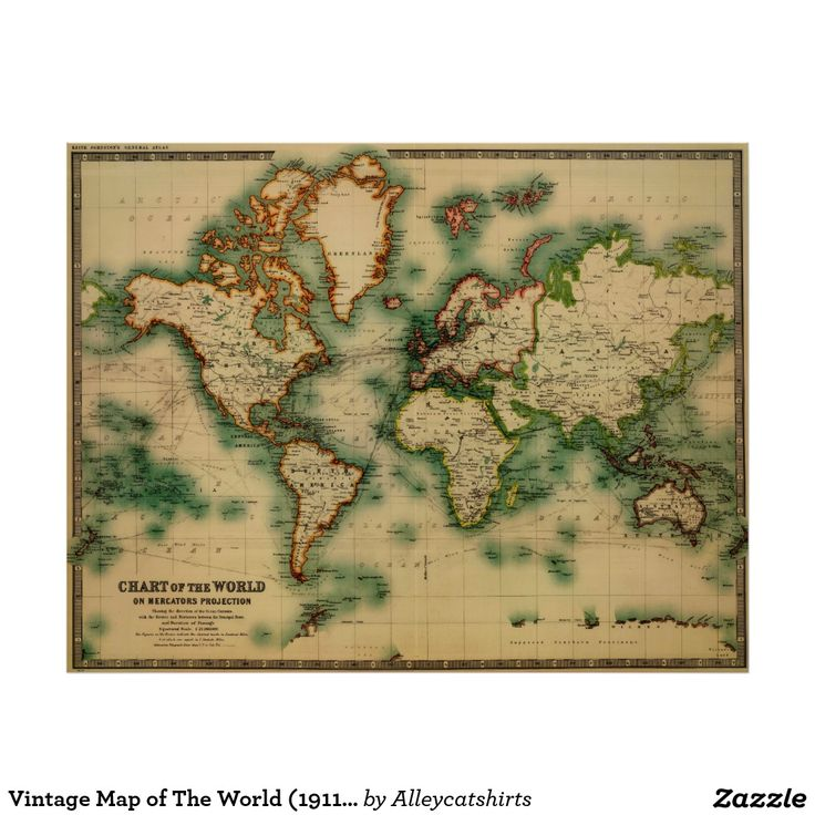 Vintage Map of The World 1911