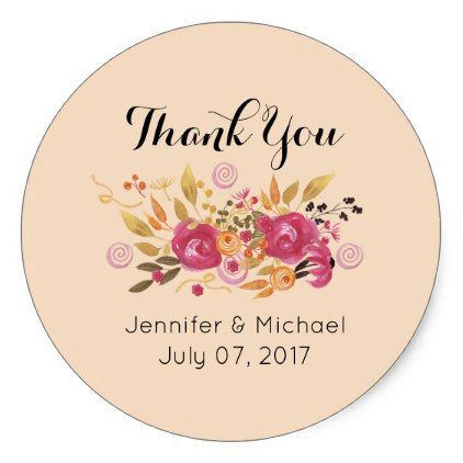 Pink and Orange Flower Bouquet Wedding Thank You Classic Round Sticker - flowers floral flower design unique style