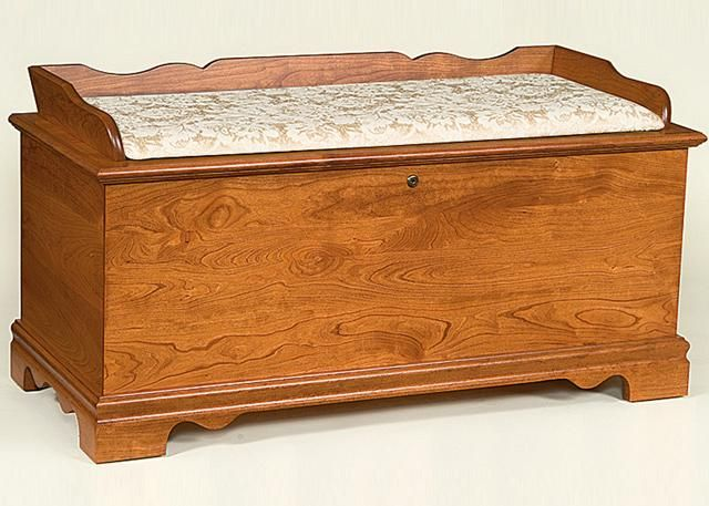 Hope Chests Wooden Handcrafted ~ Amish seat rail cherry wood early american large hope