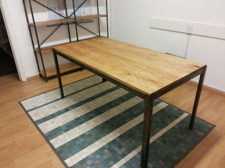 Mesa escritorio de 160x80 hierro y madera estilo industrial pinterest studio - Mesa madera industrial ...
