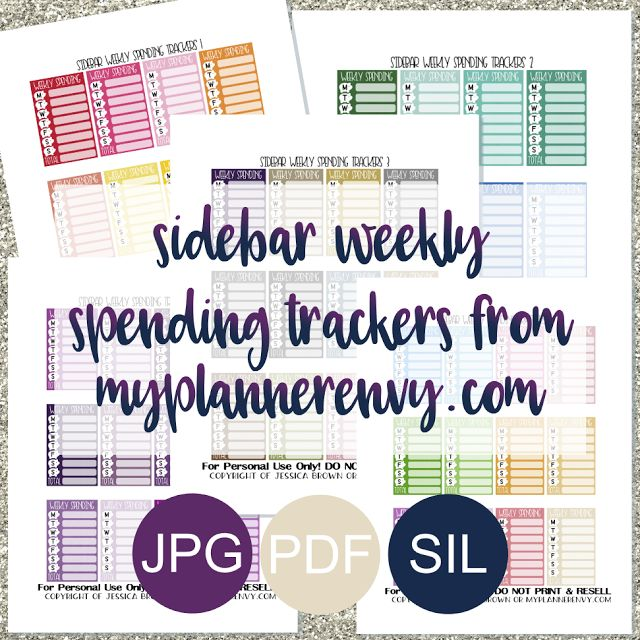 Free Printable Sidebar Weekly Spending Tracker Planner Stickers {PDF, JPG and Studio3.  For The Happy Planner and Erin Condren} from myplannerenvy.com