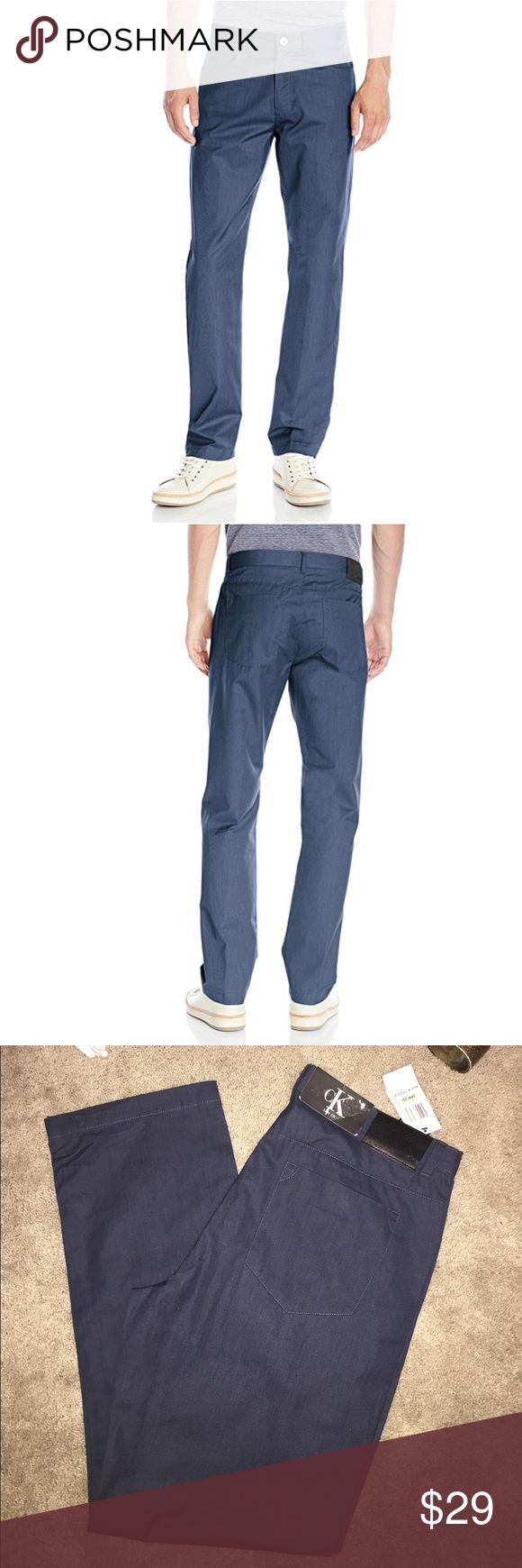 Calvin Klein Men's Twill Pants Dress blue. These modern four pocket twill pants feature a casual fit with a belt loop waistband and a button and zip fly enclosure. 100% Cotton (34Wx32L) Calvin Klein Pants