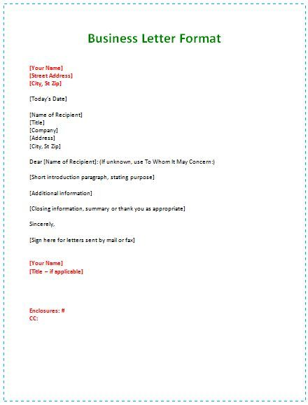 Business Letter Format Example template Business letter example