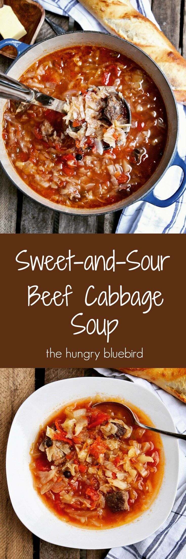 Sweet and sour cabbage soup with beef short ribs