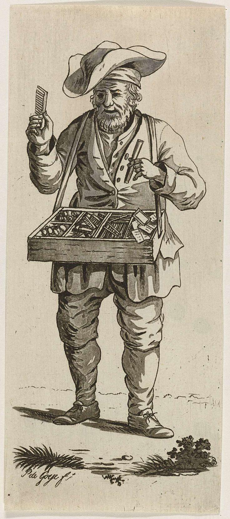 Pieter de Goeje | Marskramer, Pieter de Goeje, 1789 - 1859 | Een marskramer met een grote hoed verkoopt allerlei snuisterijen uit een mars, onder andere kammetjes en spiegeltjes.
