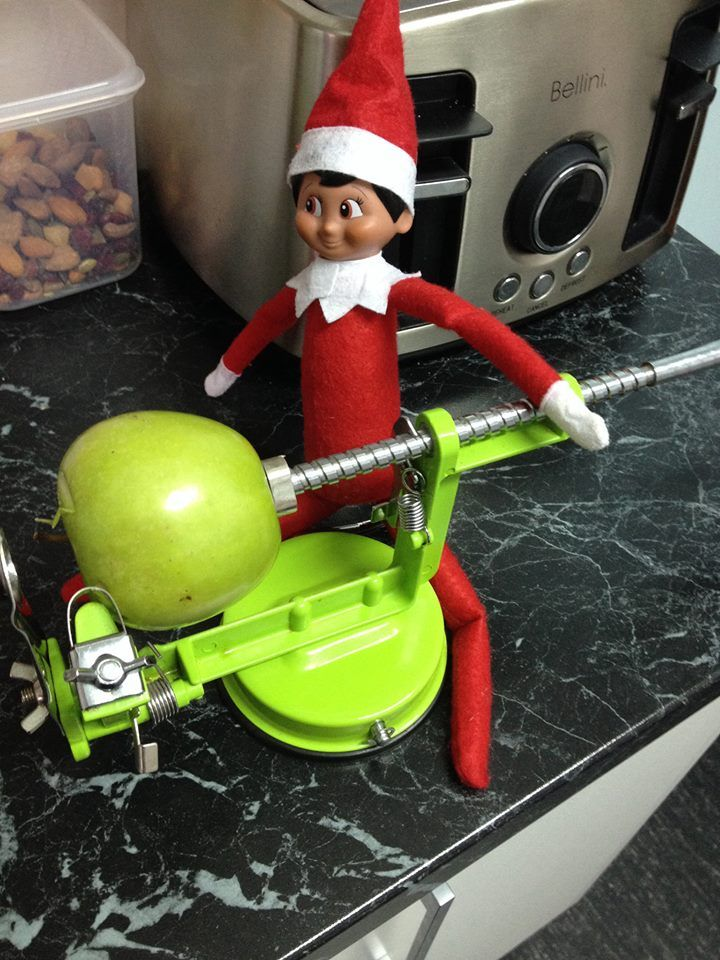 Elf on the shelf- lets slinky our own apple