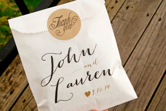 Custom Wedding Favor Bags Country Calligraphy Names Candy Or Cookie Bag 25 White Included Pinterest Favours
