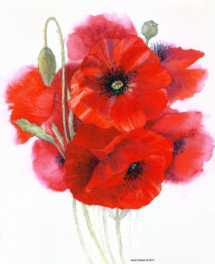 "Saatchi Art Artist: Jacki Stokes; Watercolor 2011 Painting ""Red Poppies"""