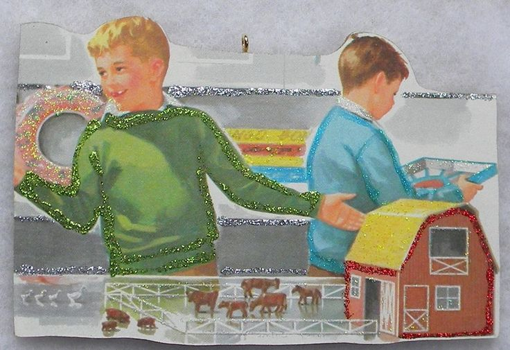 Boys Toy Store Farm Set Vtg Book Image Glittered Wood Christmas Ornament