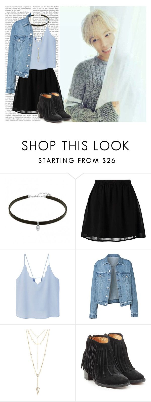"""Date w/  Minhyuk (Monsta X)"" by a-kookie ❤ liked on Polyvore featuring even&odd, MANGO, House of Harlow 1960, Fiorentini + Baker, minhyuk, monstax and LeeMinhyuk"