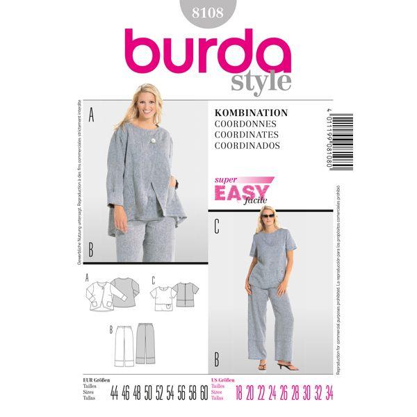 Completo, Burda 8108 - Cartamodelli Burda Taglie Forti- tessuti.com
