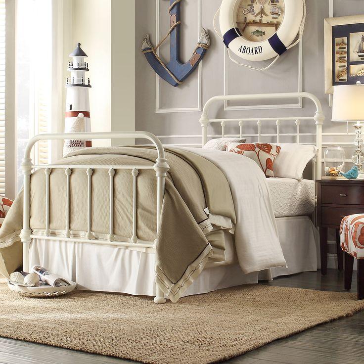 Lark Manor Lyon Metal Bed | Antique White Metal Bed