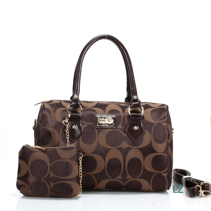Coach Logo Monogram LZ704 Two-Piece Satchel In Coffee