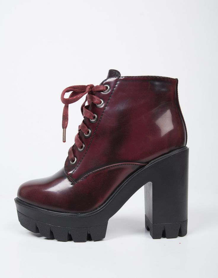 Burgundy Chunky Lace-Up Boots