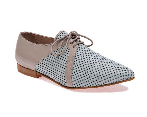 Neu Damen Schuhe Leder-Schuhe Damenschuhe blau und grau von EmyShoe