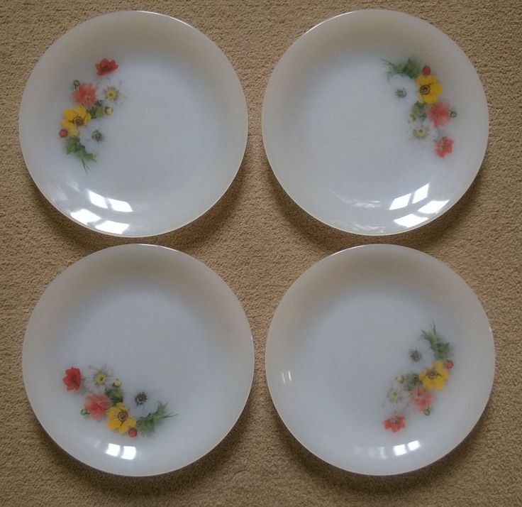 Four Vintage French Arcopal White Plates with Delightful Flower Design