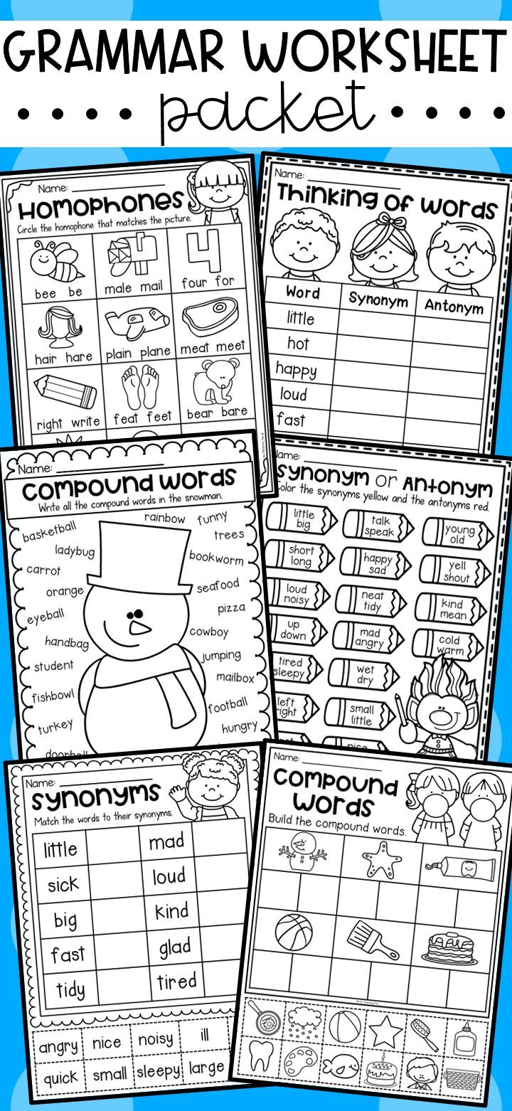 Grammar Worksheet Pack For Kindergarten First Grade And Second Grade Compound Words Synonyms Antony Compound Words Grammar Worksheets Writing Interventions