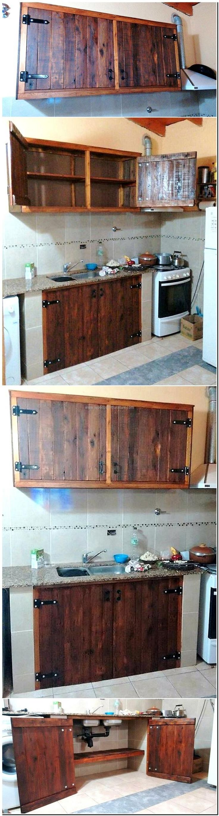 Now here we are with the idea of rustic pallet cabinets for the kitchen, the bottles can be organized in it and the kitchen utensil can also be placed.