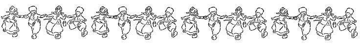 Antique Images: Digital Vintage Border Design Download of Dutch People Dancing in a Row