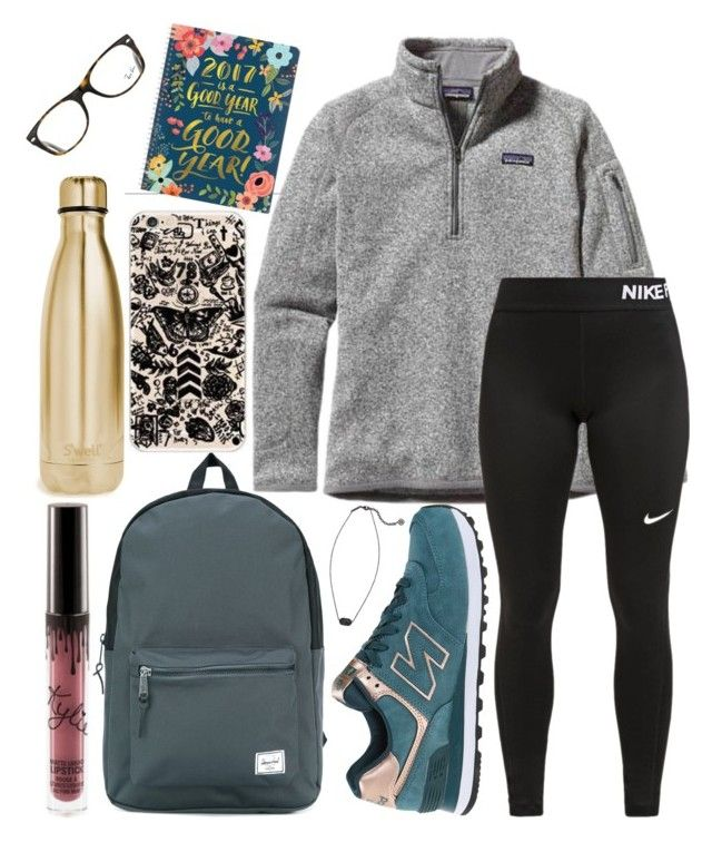 """""""School outfit"""" by jadenriley21 on Polyvore featuring New Balance, S'well, Patagonia, NIKE, Kendra Scott, Herschel Supply Co. and Ray-Ban"""
