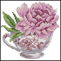 Peonies in Teacup Cross Stitch Pattern