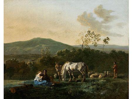 Karel DujardinSHEPHERDS WITH THEIR FLOCK IN AN ITALIAN LANDSCAPE