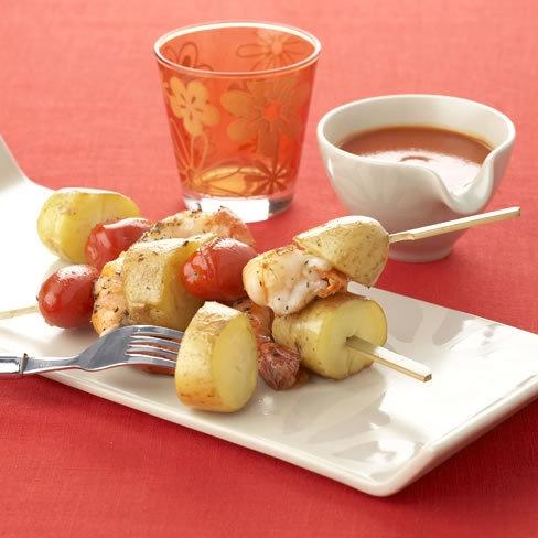 Aardappelspiesje met scampi