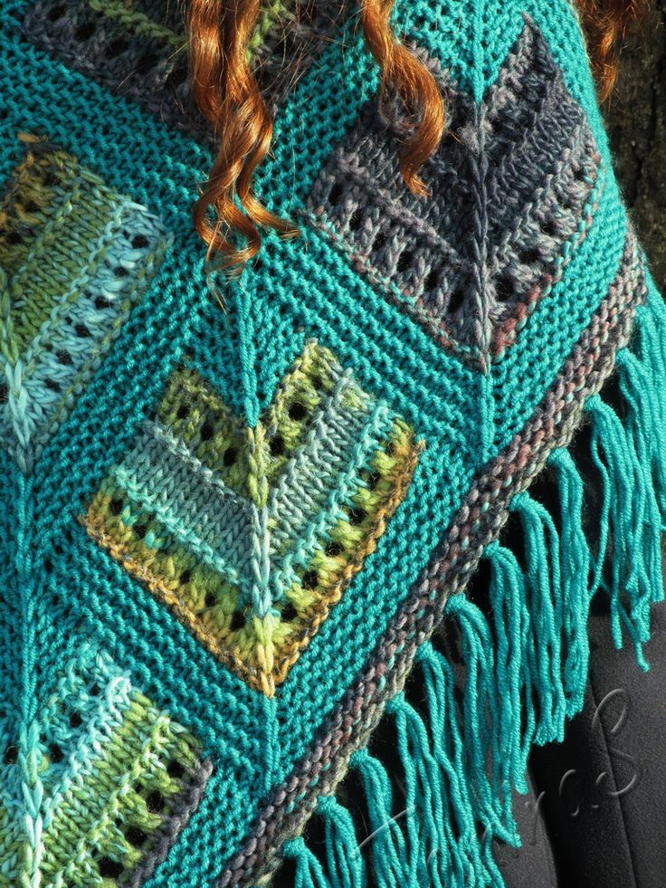 """""""Spring stained-glass"""" (knitted shawl, wrap, knitting lace, wool shawl, modular…"""