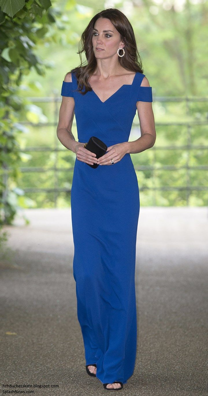 hrhduchesskate:  SportsAid 40th Anniversary Dinner, Kensington Palace, June 9, 2016-Duchess of Cambridge debuted the Roland Mouret 'Nansen' gown in royal blue with cut out shoulders and piared it and accesorized with Gianvitto Rossi 'Sisely' sandals, and Cartier Tri-Gold Hoop Earrings made of white, yellow and rose gold and studded with diamonds