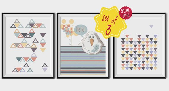 Kids posters set, SET OF THREE, Nursery wall art, Hello quote set, Children wall art set, Geometric kids set, Kid printable set of 3,Penguin.  This listing is for an INSTANT DOWNLOAD of 2 ZIP files of this set of artworks. Just purchase the listing and your prints are ready to download instantly. Why not print a whole set for a friend, or just for fun?  Once you purchase the set you will receive the following files:  - 1 ZIP high resolution (300 dpi) file with 3 posters of 8x10 inches. - 1…