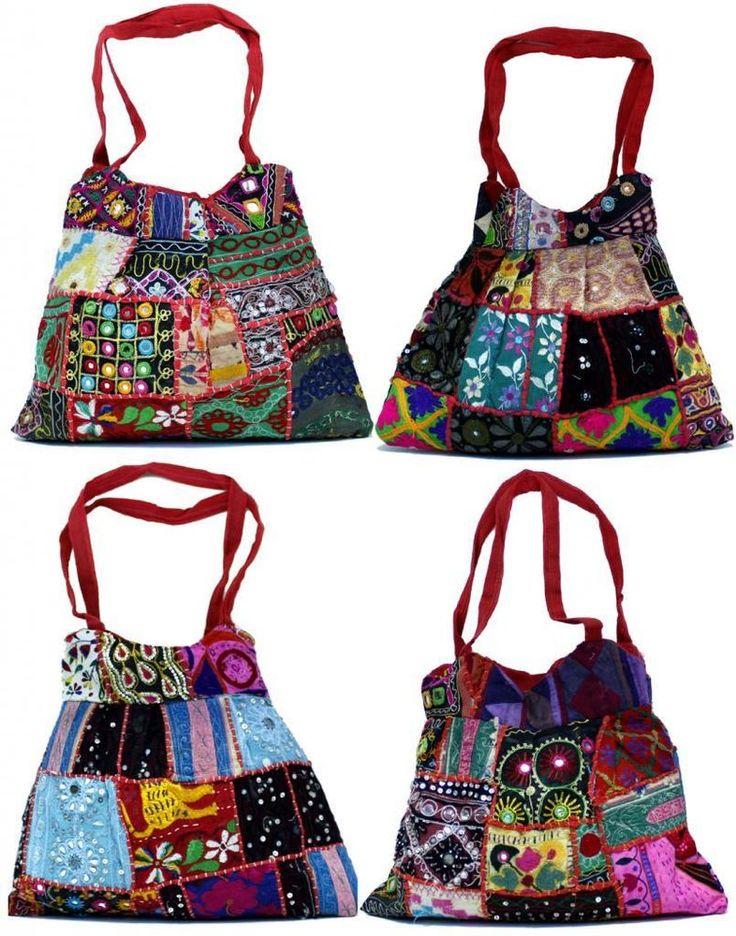 25 Cotton Heavy Embroidery Mirror Work Hippie Boho Shoulder Wholesale Bags #Handmade #ShoulderBag