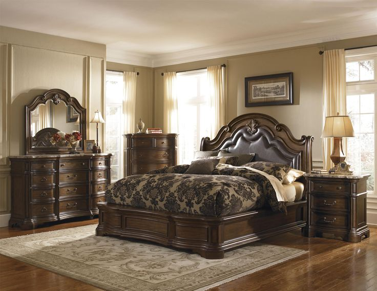 Courtland King Traditional Platform Bed with Upholstered Leather ...
