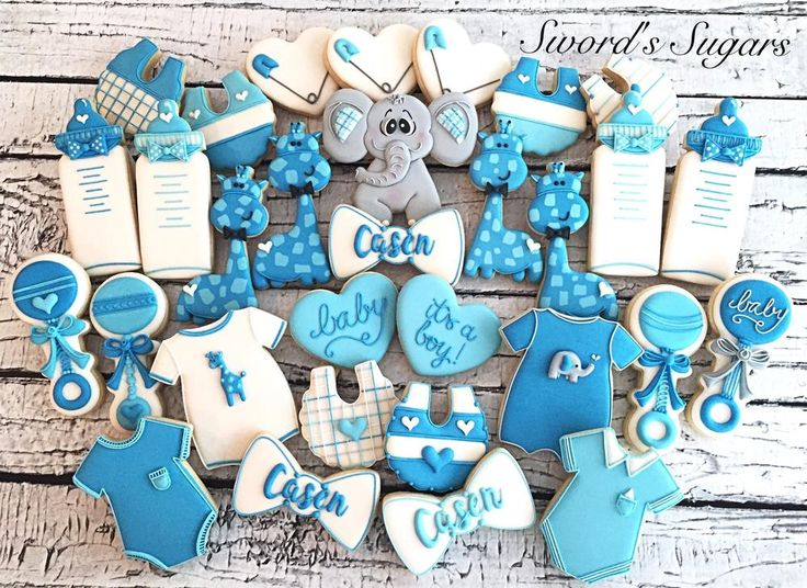 A New Baby Boy! Cookie set in blues. By Delorse