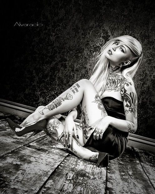 Tattoo Model - Sara Fabel | www.worldtattoogallery.com/tattoo-models-gallery